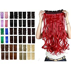 "17"" 140g Dark Red Curly Clip in Hair Extensions Synthetic Hairpieces One Piece Half Full Head Hair Wig with 5 Clips"