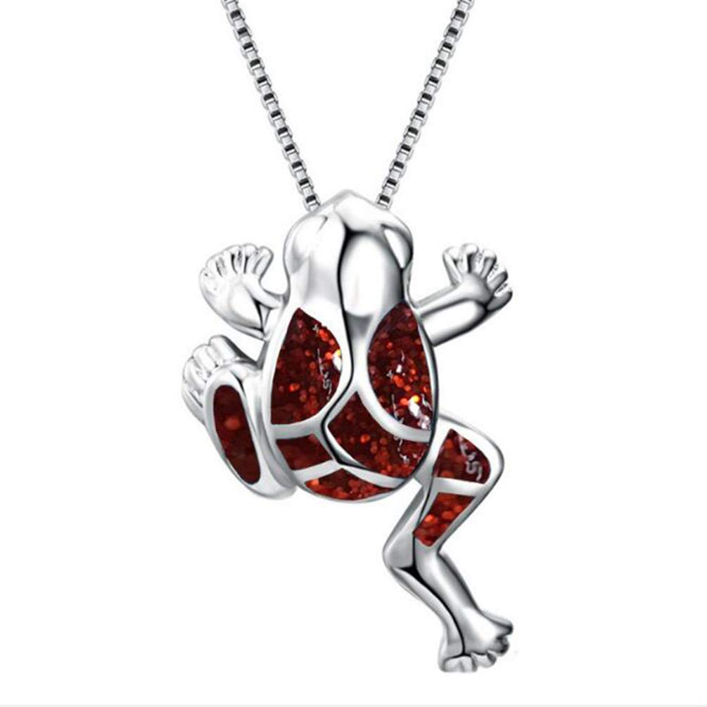 KYMLL Animal Charm Necklace Blue Fire Opal Frog Pendant Necklaces For Women Men Party Gifts