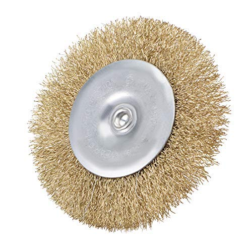 5 Pieces 4-inch Wire Wheel Brush Bench Pressed Copper-Plated Steel 1//4 inch Shank