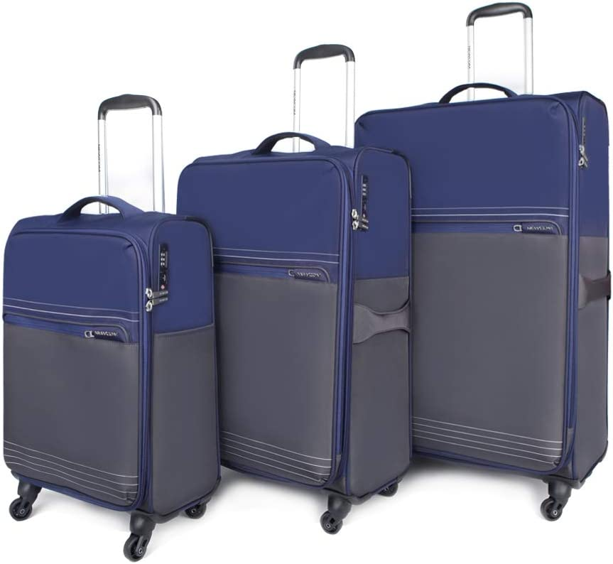 NEWCOM Luggage Set Expandable 3 Pieces 20 24 28 Inch Soft-side Blue Lightweight Rolling Suitcase Spinner Wheels with TSA Lock