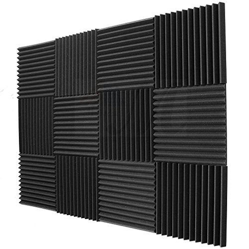 Mybecca 12 pack Acoustic Panels Studio Foam Wedges Soundproofing 1'' X 12'' X 12'' (12 Square Feet), Charcoal by Mybecca