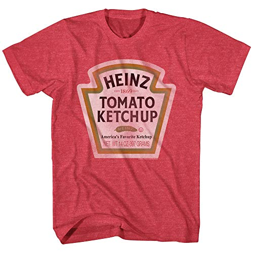 Mad Engine Heinz Ketchup Bottle Logo Classic Vintage Retro Funny Costume Men's T-Shirt (Red Heather, -
