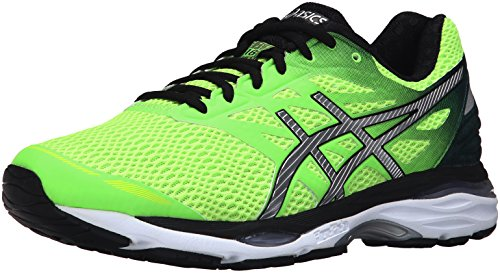 ASICS Men's Gel-Cumulus 18 Running Shoe, Green Gecko/Silver/Safety Yellow, 14 M US (Best Asics Cushioned Running Shoes)