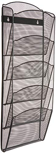 Greenco Mesh 5 Slot Wall Mounted Magazine Rack Holder, Black (GRC2579) ()