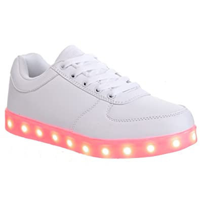 c4c5b2bf9 Red London UK Womens Girls Ladies Adults Rechargeable USB LED Light Up 7  Colour Multicoloured Flashing Fashion Running Novelty Trainers Sneakers  Clubbing ...