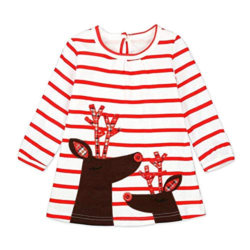 WOSENHK Baby Girls Christmas Outfits Striped Santa Claus Long Sleeve Dress (Bright red, 100/2-3y)