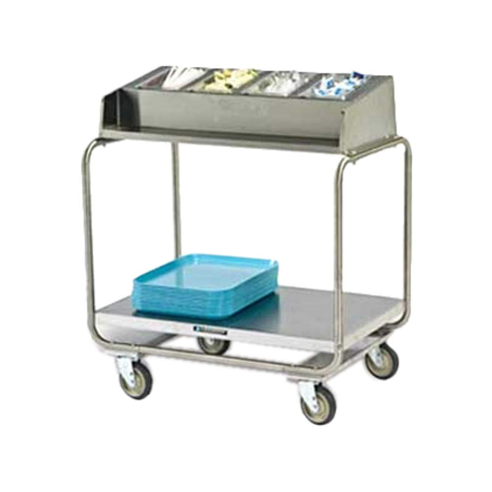 Lakeside 216 Tray & Silver Cart with (5) 1/4 Size Pans, Open Style, for (130) 16'' x 22'' Trays