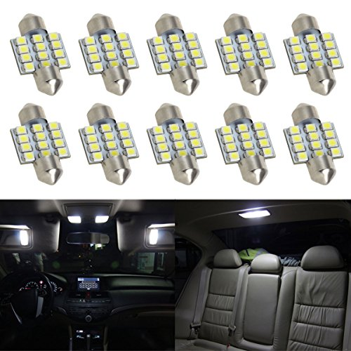 Partsam 10x White 12-3528-SMD 31mm Festoon LED Light Car Interior Dome Trunk Lights 12V 3021 3022 3175 6428 6430