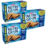 Kellogg's Nutri-Grain, Soft Baked Breakfast Bars, Blueberry, Made with Whole Grain, Value Pack, 20.8 oz (16 Count) (Pack of 3)