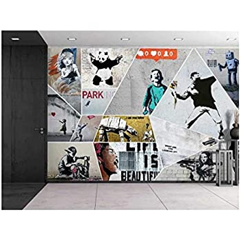 wall26 - Peel and Stick Wallpapaer - Banksy Art Series Collage | Removable Large Wall Mural Creative Wall Decal - 66x96 inches