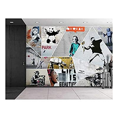 Fascinating Portrait, Made to Last, Peel and Stick Wallpapaer Banksy Art Series Collage Removable Large Wall Mural Creative Wall Decal