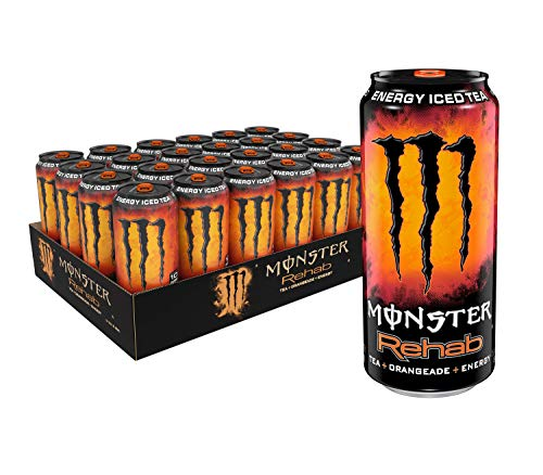 Monster Rehab Tea + Orangeade + Energy, Energy Iced Tea, 15.5 Ounce (Pack of 24) (Monsters Tea Party)