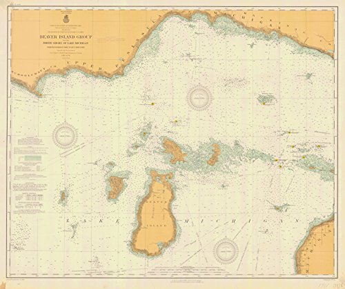 Historic Map | Beaver Island Group Including North Shore Of Lake Michigan From Waugoshance Point To Seul Choix Point, 1911 Nautical NOAA Chart | Vintage Poster Wall Art Reprint | 44in x 36in