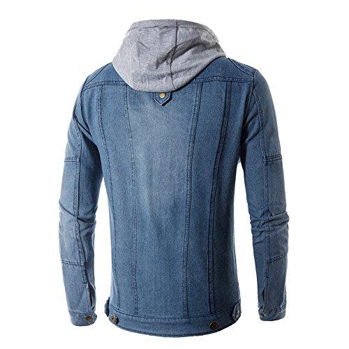 Jacket Jeans Fashion Coat Blue Pockets Sleeve Long UJUNAOR Men Unisex Denim Hooded Zipper RaFqTPHw