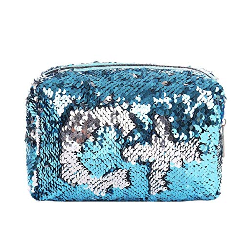Sequins Black Sac Femmes Cosmetic Maquillage Crayon Taille Champage Stylo coloré Coin Purse Silver Zipper Pouch Case Moontang Blue Silver x5qHw6SH
