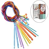 Looen Set of 12 Size Tunisian Crochet Hooks Set with Cable 3.5mm-12mm Afghan Plastic Carpet Rug Weave Knitting Needles