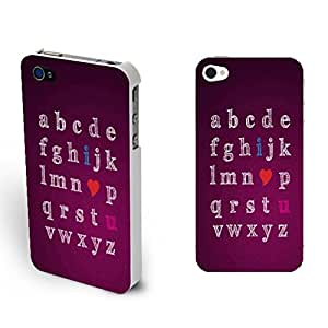 Hipster Combo Color Purple Red Custom Design Iphone 4 /4s with Quotes Monogrammed Love Heart Print Phone Cases Cover Shell