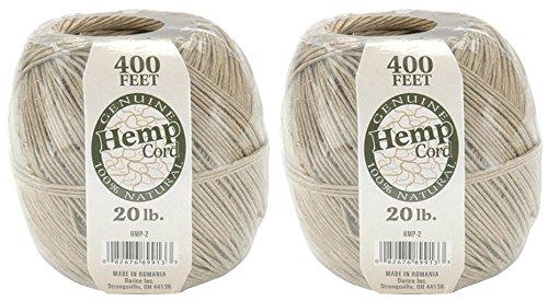 2-Packs of 400 feet 100% Natural Hemp Cord #20 ()