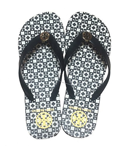 f48b517afe2f Tory Burch Isidro Flip Flops Shoes Sandals Flat Rubber (Black-White) Size 8  - Buy Online in Oman.
