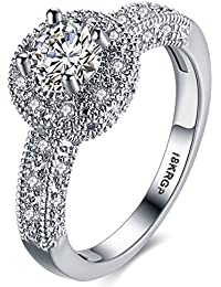 Womens Wedding Engagement Ring Classic Solitaire Enternity Love Promise Rings for Her Anniversary Gift Bands - 18K White Gold Plated & CZ Crystal - FAR112