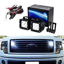 iJDMTOY Complete 40W High Power CREE LED Pod Lights w/ Behind Grille Mounting Brackets & Relay Wire Switch For 2009-2014 Ford F-150