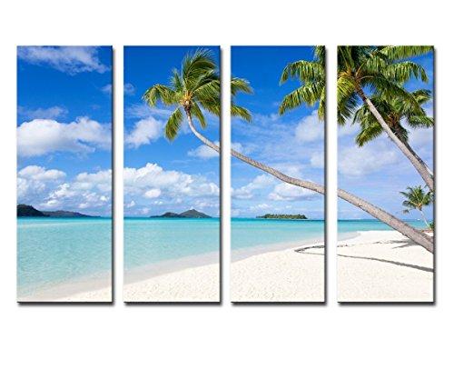 Palm Tree Photo (Noah Art-Contemporary Beach Art, Palm Tree Tropical Landscape Painting to Canvas Prints, 4 Piece Large Framed Blue Ocean Wall Art for Living Room Home Decor, 12x32inchx4pcs)