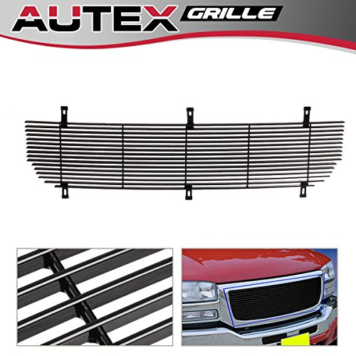 AUTEX G85371H Aluminum Upper Black Billet Grille Grill Insert Compatible with GMC Sierra 1500/1500 HD/2500 HD/3500 2003-2006,GMC Sierra 1500/2500 HD/3500 2007,GMC Sierra 2500 2003-2004