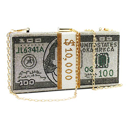 Money Clutch Rhinestone Purse Stack of Cash Unique Evening Clutch Handbag Shoulder Bag Crossbody Bag Rhinestone Handbag