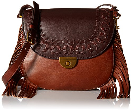 Fossil Women's EMI Fringe Large Saddle Bag Cross Body Handbag, Multi/Brown, One Size