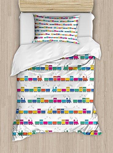 - Lunarable Train Duvet Cover Set Twin Size, Colorful Rail Network Elements Children Cartoon Design Vintage Transportation Wagons, Decorative 2 Piece Bedding Set with 1 Pillow Sham, Multicolor