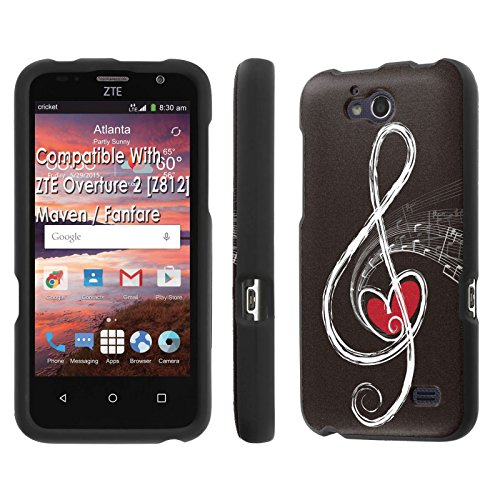 ZTE Overture 2 [Z812]/ Maven / Fanfare Case, [NakedShield] [Black] Total Armor Protection Case - [Music Love Note] for ZTE Overture 2 [Z812] / Maven / Fanfare (Mercury Maven Ii compare prices)