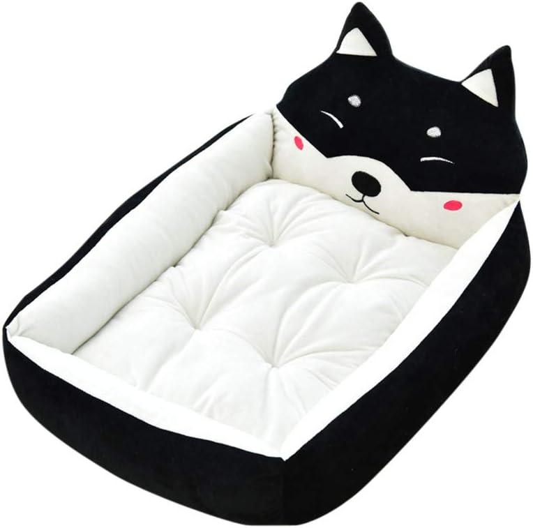 Cama de Perrera Dibujos Animados Almohada Rectángulo para Mascotas Cómodo Mascota Gato y Perro Cama Negro M