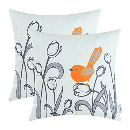 - CaliTime Pack of 2 Soft Canvas Throw Pillow Covers Cases for Girls Couch Sofa Hand Drawing Cute Bird with Gray Sweet Tulip Floral Print 18 X 18 Inches Bright Orange