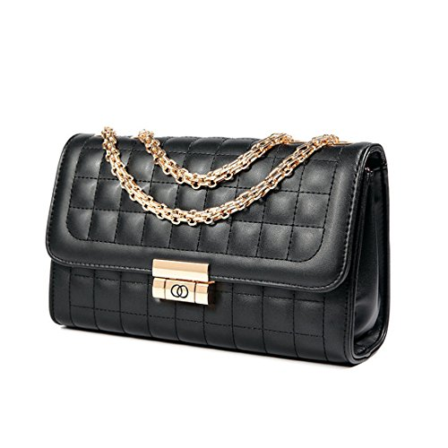 Women's Classic Quilted Crossbody Purse Shoulder Bags Golden Chain Satchel Handbags (Black)