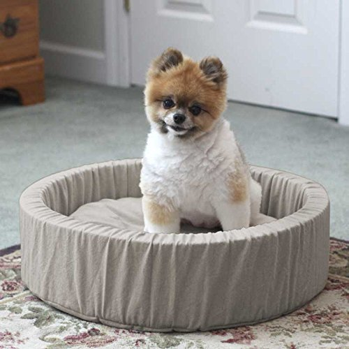 Dog Donut Bed Luxury (LIFEKIND Natural Round Pet Bed (20 Inches for Pets up to 20lbs.) - filled with GOTS-certified organic cotton on one side and organically grown buckwheat hulls on the other)