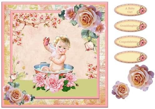 New Baby Girl Vintage Card Front /& Decoupage by Toni Martin