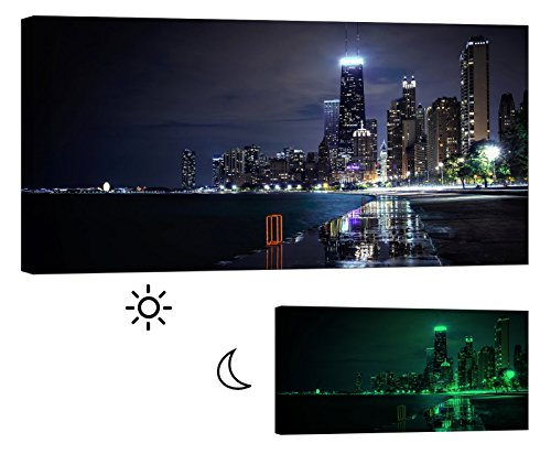 LightFairy Glow in the Dark Canvas Painting - Stretched and Framed Giclee Wall Art Print - City Urban Decor Chicago At Night - Master Bedroom Living Room Decor - 6 (Glow Run Chicago)