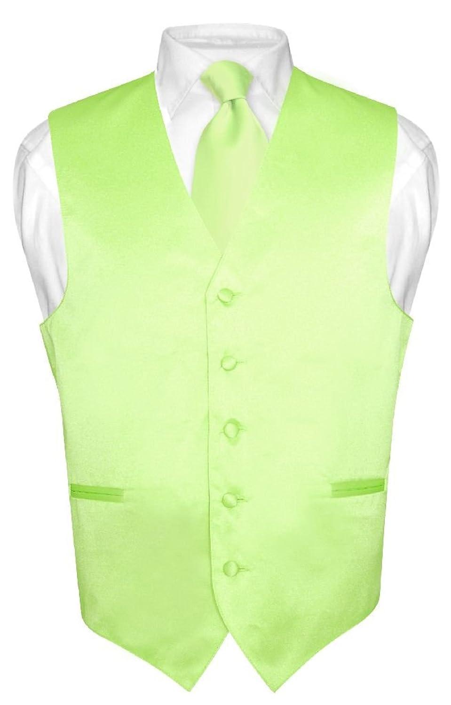 Men's Dress Vest & NeckTie Solid LIME GREEN Color Neck Tie Set for ...