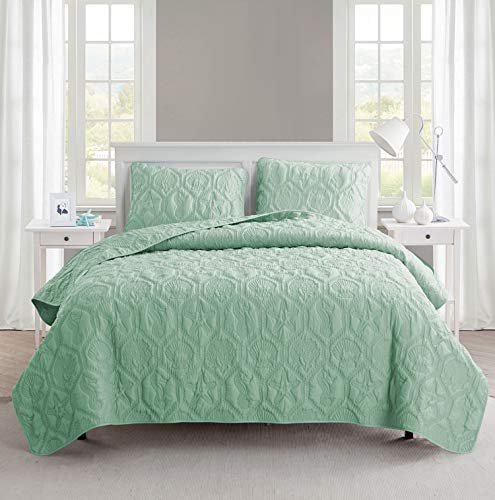 King Size Quilt Set in Green Charming Beach Beautiful Blanket 3 Pc Set w/ Quilt, 2 Shams