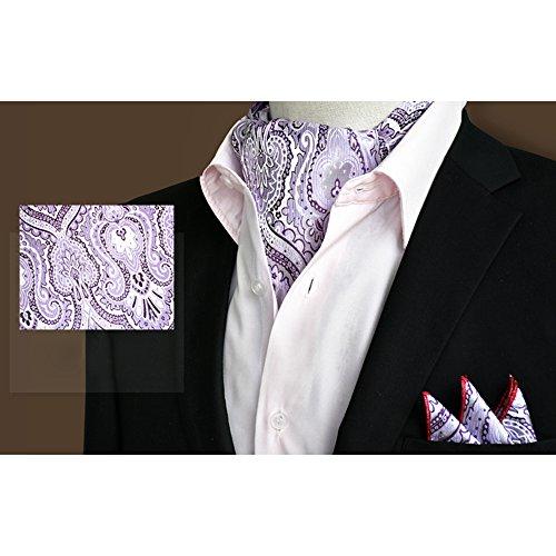 Set Floral YCHENG Men's Purple Paisley Tie Ascot 08 Xlj Business Wedding Elegant Handkerchief Silk gSqvF