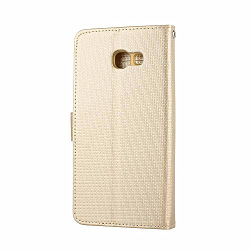 Hülle für Galaxy A5 2017, Billionn Glitzer Diamant Blume Muster PU Leder Flip Hülle Tasche Schutzhülle mit Standfunktion für Samsung Galaxy A5 2017 Blau Gold