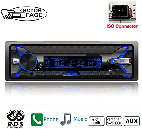 PolarLander 1 Din Autoradio取り外し可能なフロントパネルカーラジオRDS Bluetooth FM USB TFカードAUX INリモートコントロール音楽MP3プレーヤー