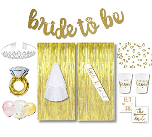 Bachelorette Party Decorations Kit | Bridal Shower Supplies | Gold Bride to Be Banner & Sash, Veil, Tiara, Tattoos, Ring & Latex Balloons + More | 42 Total Items | The Ultimate Kit (Gold, Regular)