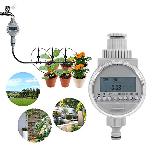 Nannday LCD Digital Auto Watering Timer, Solar Powered Water Saving Irrigation Controller for Home Garden