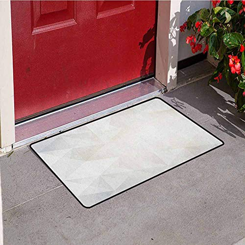 (Grey and White Inlet Outdoor Door mat Polygon Art Stylized Geometrical Forms Contemporary Art Inspired Design Catch dust Snow and mud W19.7 x L31.5 Inch Pale Grey White )