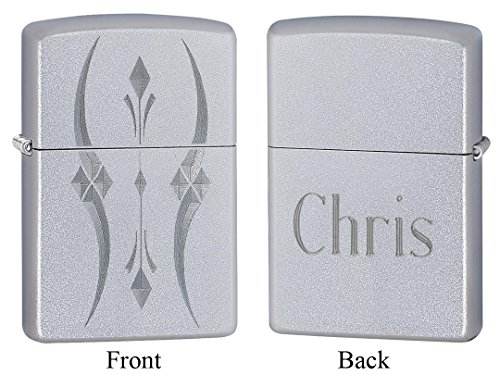 Personalized Zippo Pristine Curves Satin Chrome Lighter with Free Engraving
