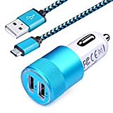 Android Car Charger Fast Charging, Ououdee 3.4A Dual USB Port Car Charger Adapter with Nylon Braided Micro USB Cable 6ft Fast Sync Charging Cord Compatible Samsung Galaxy S6 S7 J7 Edge Note 5, LG