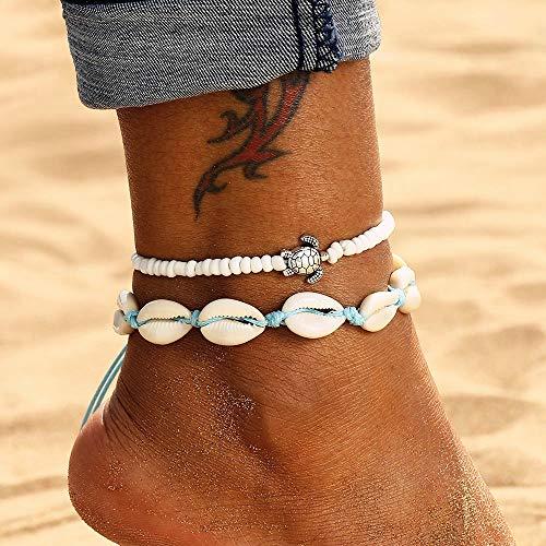 Edary Boho Doppelschalen Fußkettchen Set Weiß Schildkröte Anhänger Fußkettchen Perlen Fußkette Strand Fußschmuck Zubehör für Frauen und Mädchen