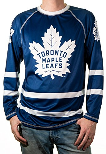 new product 30566 51a29 NHL Men s Game Day Long-Sleeve Performance Loose Fit Rash Guard (Toronto  Maple Leafs, Small)