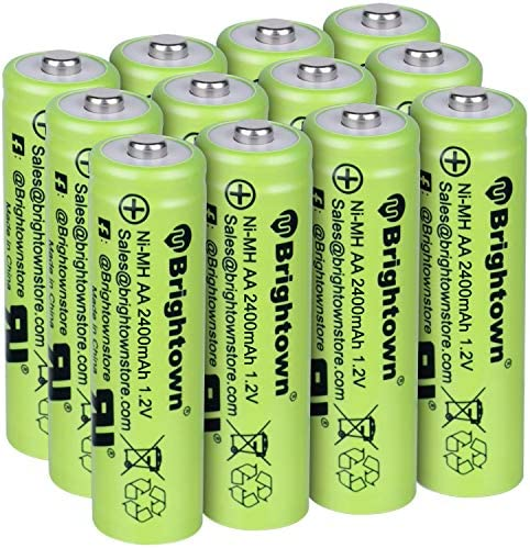 NiMH Rechargeable AA Battery Pack of 12, High Capacity 2400mAh 1.2v Pre Charged Double A Battery for Solar Lights, TV Remotes, Wireless Mouses, Flashlight, Game Controllers, Electronic Toys